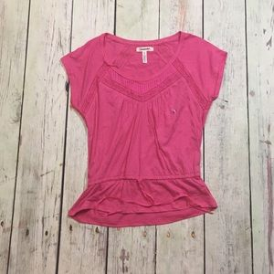 Aeropostale Pink Small T-Shirt with lace design